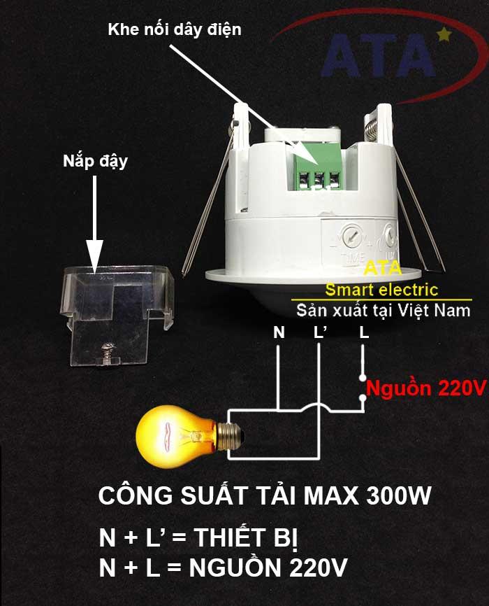 sơ đồ nối dây Cảm biến hồng ngoại gắn âm trần ATA AT360