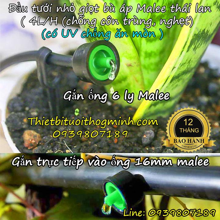 Đầu tưới nhỏ giọt bù áp 1 tia Malee thái lan B4