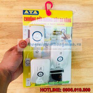 Chuông cửa 2 chuông 1 nút nhấn không dây cao cấp ATA