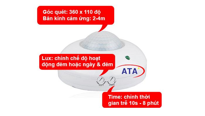 chi tiết Công tắc cảm ứng hồng ngoại gắn nổi trần ATA AT70B