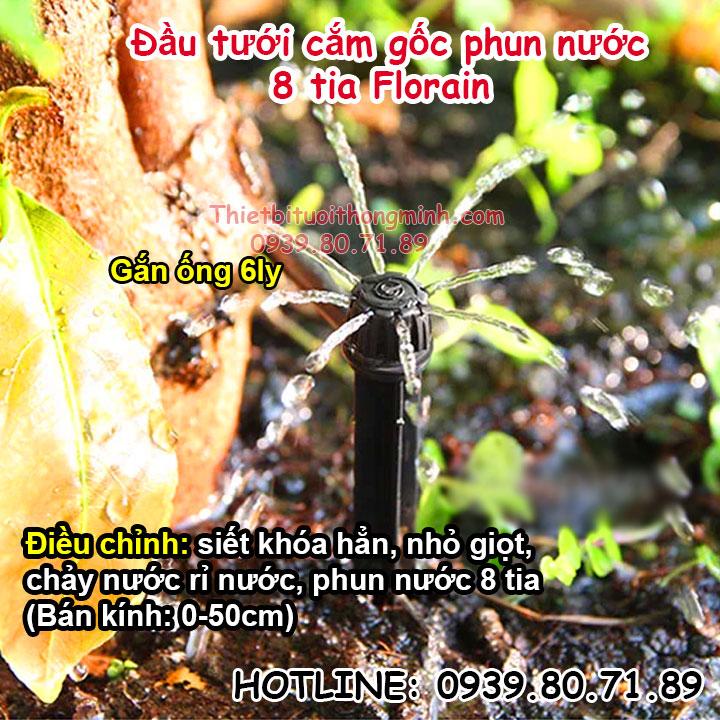 Đầu béc tưới cây nhỏ giọt cắm gốc phun nước 8 tia Florain