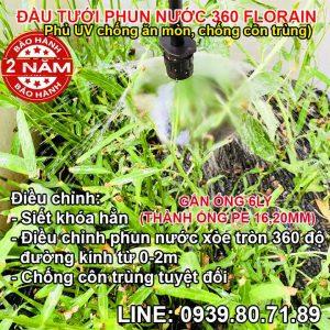 Vòi nhỏ giọt phun nước tưới cây thả gốc 360 độ Florain