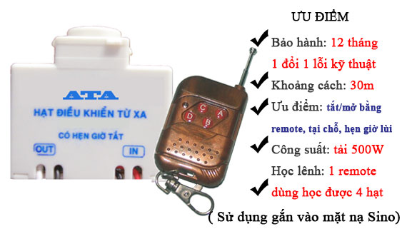 Bộ điều khiển từ xa bằng remote hạt Sino AT-RF01SN