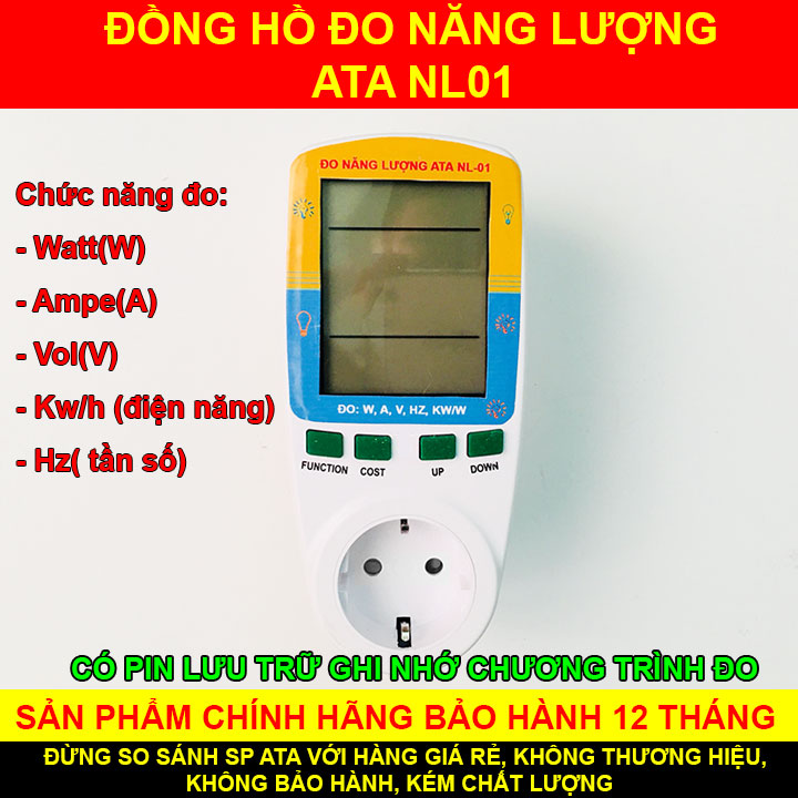 Đồng hồ đo công suất điện năng tiêu thụ 1 pha(220V)