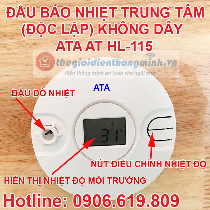 Đầu báo nhiệt báo cháy không dây thông minh ATA AT-HL115