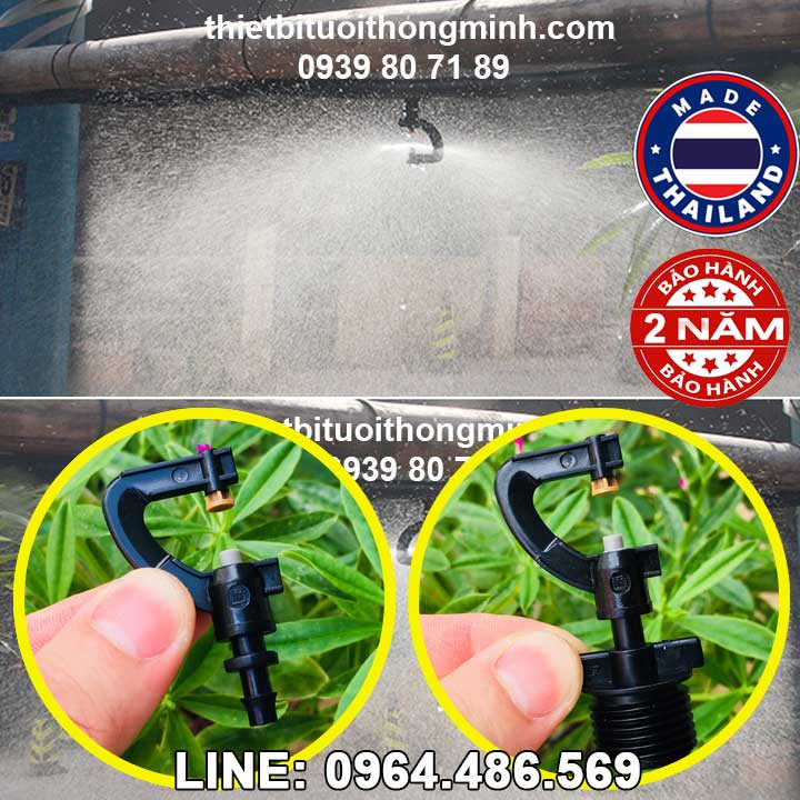 Béc phun sương 360 tưới lan, rau ren ngoài 21mm (Chân thẳng 6(8)ly Malee thái lan
