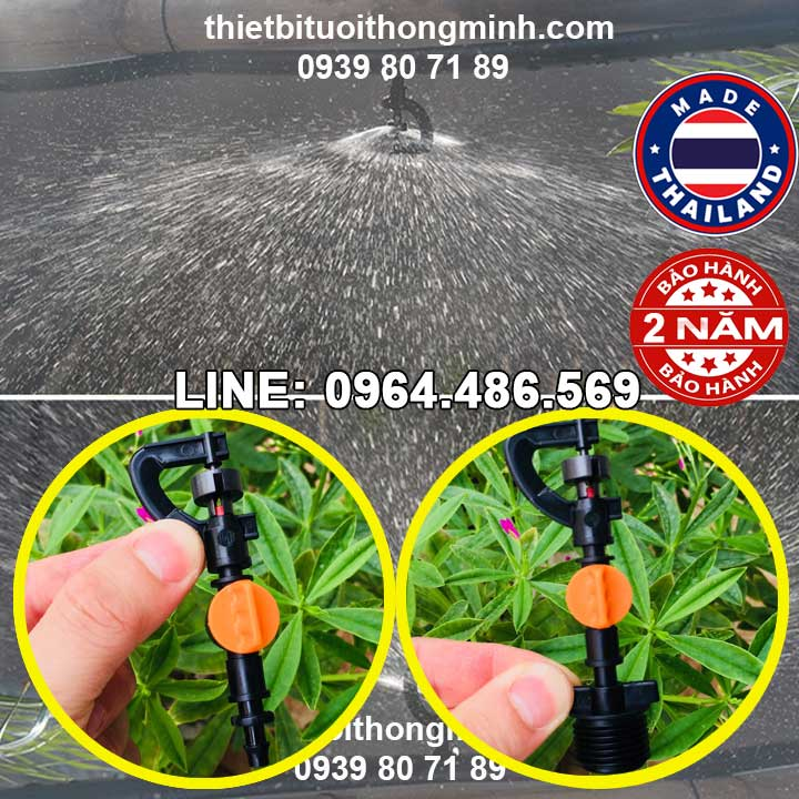 Béc tưới phun mưa 360 độ xoay ren ngoài 21mm Malee thái lan(hoặc chân thẳng 6(8)ly