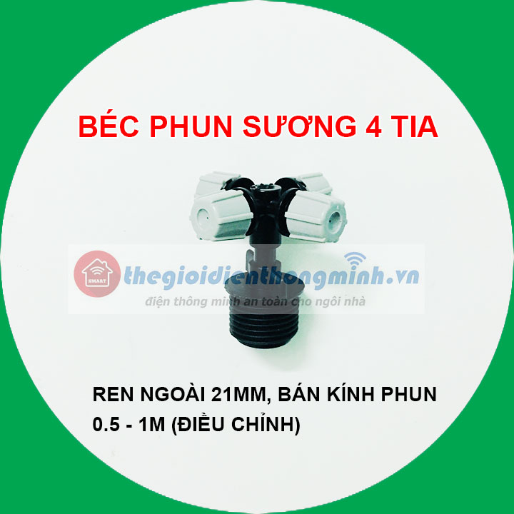 Đầu phun sương 4 tia ren ngoài 21mm (loại tốt) (chỉnh được)