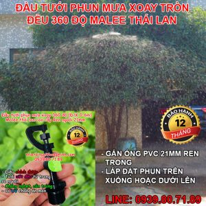 Béc tưới phun mưa 360 độ xoay ren ngoài 21mm Malee thái lan