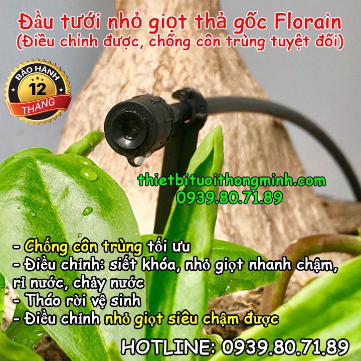 Béc tưới cây nhỏ giọt điều chỉnh siêu nhỏ giọt thả gốc chống côn trùng Florain