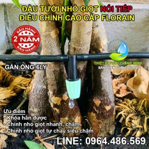 Đầu béc tưới gốc cây nhỏ giọt gắn nối tiếp ống 6mm Florain NT-02