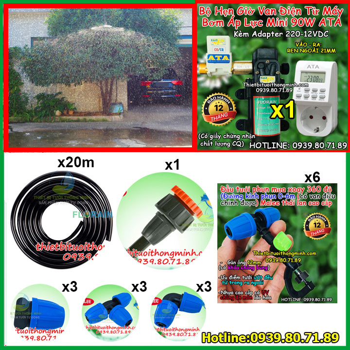 Bộ hẹn giờ máy bơm tưới cây phun mưa xoay 360 độ Malee FM-B1