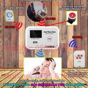 Thiết bị sos báo khẩn cấp cho người già bệnh nhân qua điện thoại ATA SOS-01