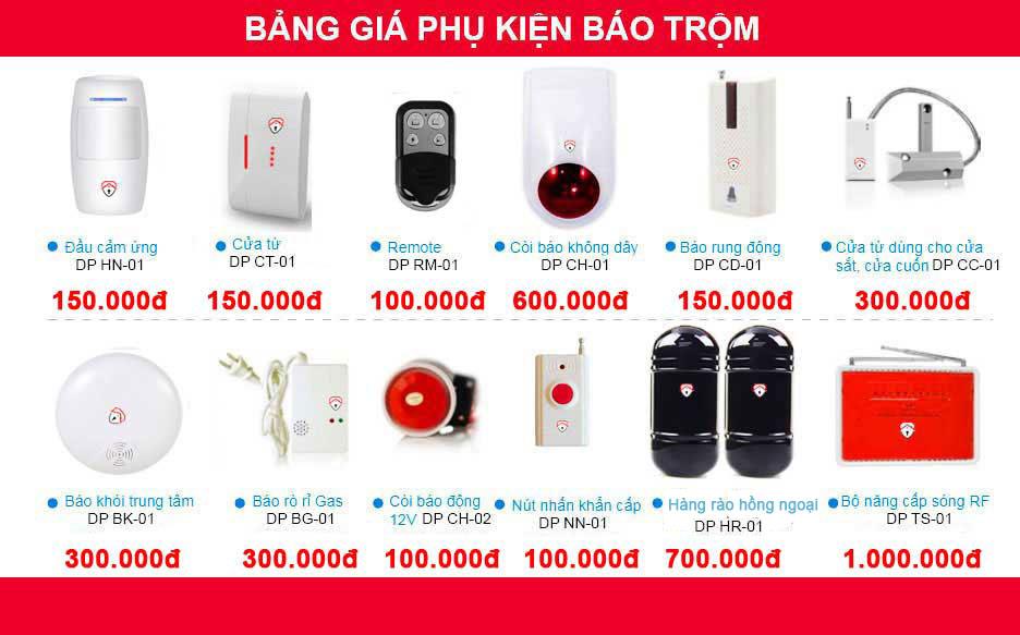 bảng giá Hệ thống báo trộm gia đình không dây gọi điện thoại X1