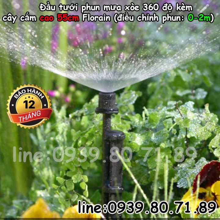 Đầu tưới cắm gốc điều chỉnh phun mưa xòe cục bộ 360 độ cắm gốc Florain