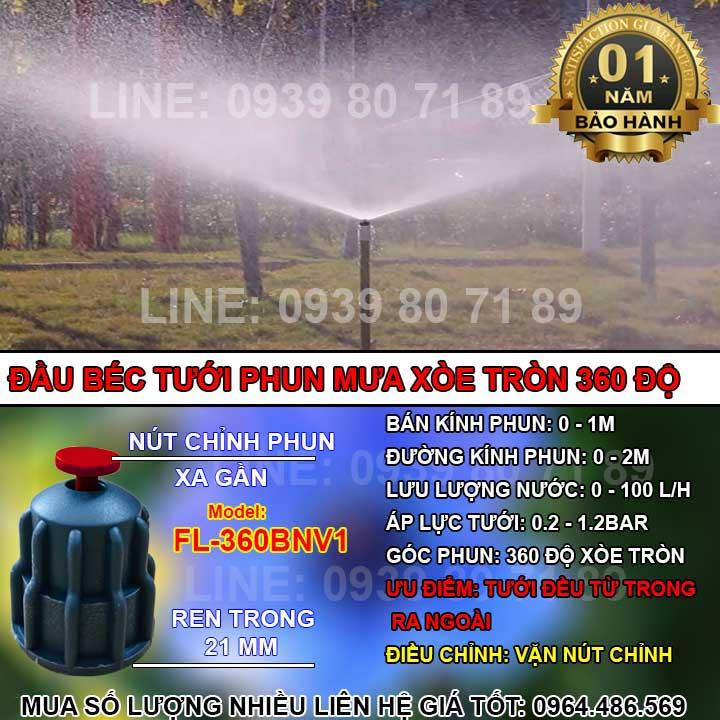 Béc tưới phun mưa xòe tròn 360 độ ren trong 21mm bán kính phun 1 2 m