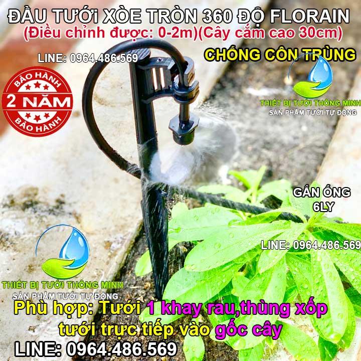 Đầu tưới cắm gốc cây phun mưa cục bộ 360 độ Florain