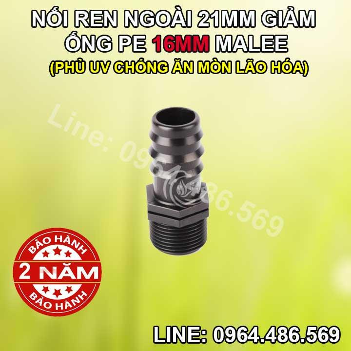 Nối ống 16 ren ngoài 21mm Malee