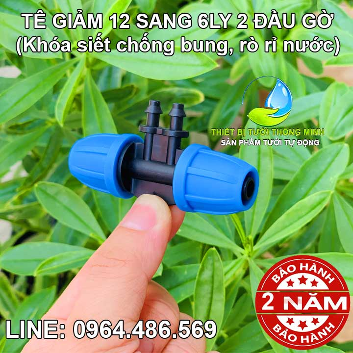 Tê giảm ống 12mm sang ống 6ly 2 đầu gờ Malee
