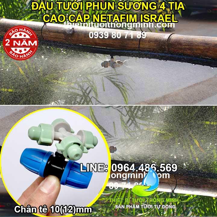 Vòi tưới lan phun sương 4 tia israel cao cấp chân tê 12mm