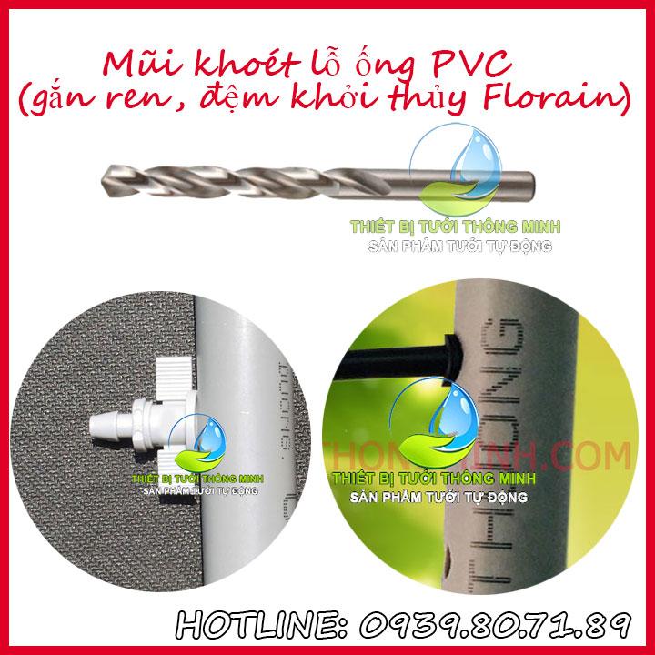 Mũi khoan lỗ 7mm khởi thủy ống cứng PVC sắt loại tốt