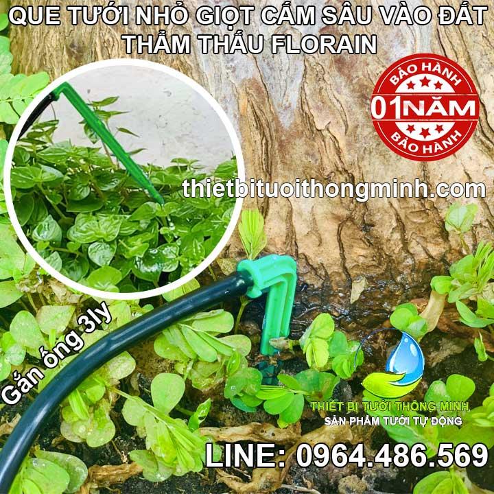 Que tưới nhỏ giọt cắm gốc thẩm thấu vào đất gắn ống 3ly Florain