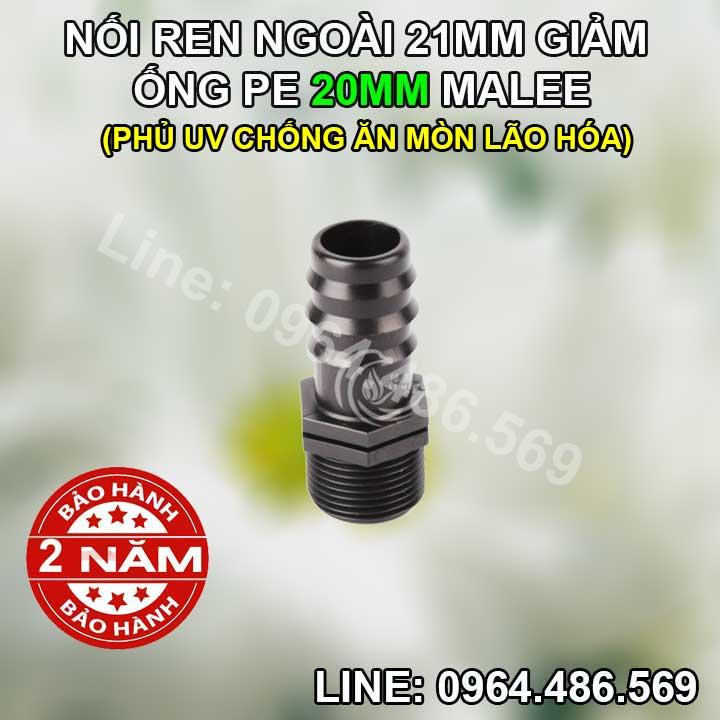 Nối ống 20 ren ngoài 21mm Malee